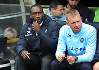 Football - 2016 /2017 Championship - Fulham vs Queens Park Rangers<br /> <br /> QPR Manager Jimmy Floyd Hasselbaink and assistant Manager David Oldfield  at Craven Cottage<br /> <br /> Credit : Colorsport / Andrew Cowie