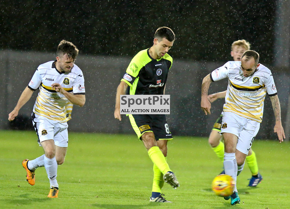 Steven Bell(centre) has to pass back  during the Dumbarton v Stranraer Irn Bru Cup round three 06 October 2017<br /> <br /> <br /> <br /> <br /> <br /> (c) Andy Scott | SportPix.org.uk