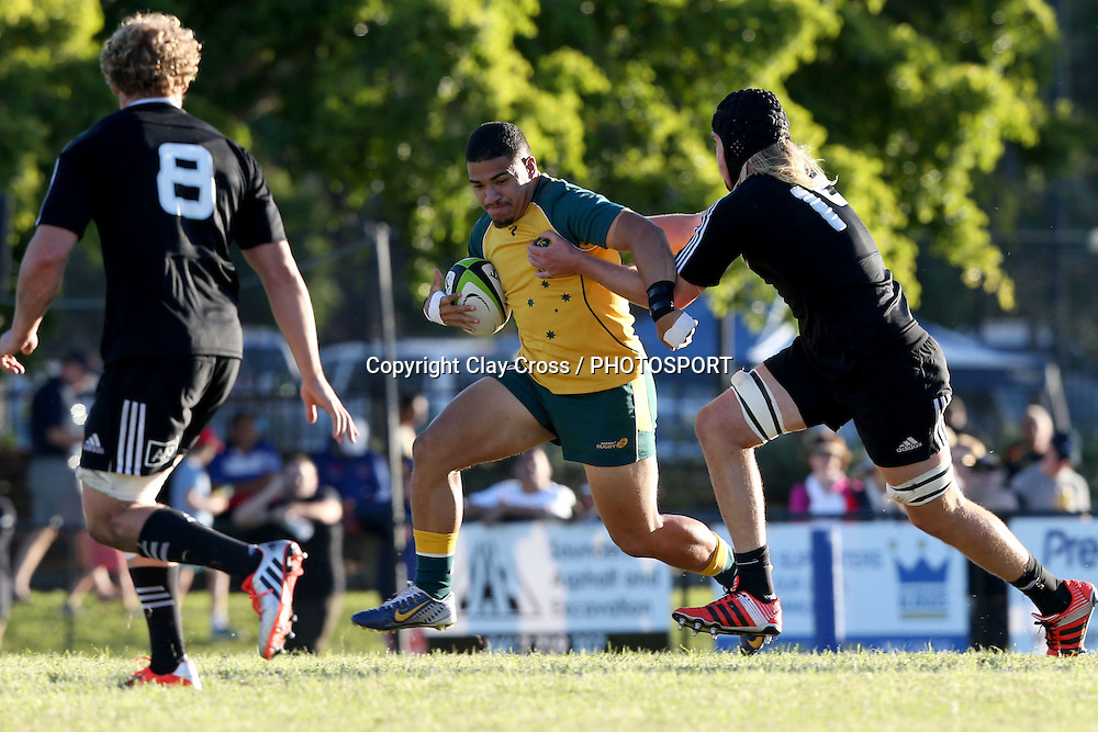 Sione Tuipolotu. Australia v New Zealand Under 20s. 2015 Oceania Rugby Junior Championship. Bond University, Gold Coast Australia. Saturday 9 May 2015. Photo: Clay Cross / photosport.co.nz