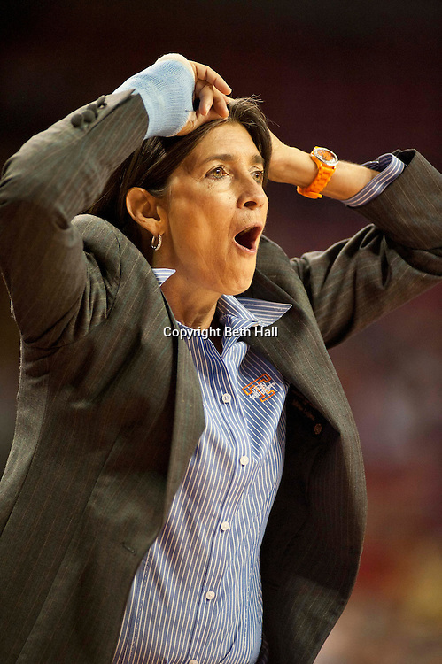 Jan 8, 2012; Fayetteville, AR, USA; Tennessee Lady Volunteers assistand coach Mickie DeMoss reacts to a call during a game against the Arkansas Razorbacks at Bud Walton Arena. Tennessee defeated Arkansas 69-38. Mandatory Credit: Beth Hall-US PRESSWIRE