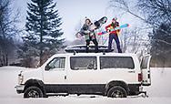 Winter ski and snowboard vanlife lifestyle.