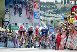 July 7, 2018 - France - GAVIRIA RENDON Fernando (COL) of Quick - Step Floors celebrates the victory before SAGAN Peter (SVK) of Bora - Hansgrohe and KITTEL Marcel (GER) of Team Katusha Alpecin during stage 1 of the 105th edition of the 2018 Tour de France cycling race, a stage of 201 kms between Noirmoutier-en-l'Ile and Fontenay-Le-Comte on July 07, 2018 in Fontenay-Le-Comte, France, 7/07/18 (Credit Image: © Panoramic via ZUMA Press)