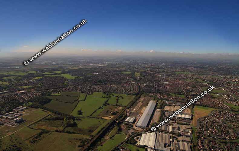 aerial photograph of the former Barnbow Vickers Tank Factory  Leeds Yorkshire England UK