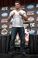 "NEW YORK, NEW YORK, MARCH 24, 2010: UFC heavyweight fighter Frank Mir poses solo on the podium as his opponent, Shane Carwin (not pictured) was unable to attend the pre-fight press conference for ""UFC 111: St. Pierre vs. Hardy"" inside Radio City Music Hall in New York City"