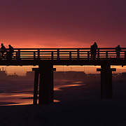 Sunset over Port Hueneme State Beach and Pier. California.