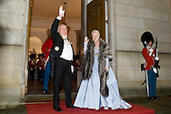 01.01.2016. Copenhagen, Denmark. <br /> Queen Margrethe II and Prince Henrik&rsquo;s arrival to Amalienborg Palace for the traditional gala dinner with the Danish government officials, civil servants, and members/employees of the royal court. Photo: &copy; Ricardo Ramirez