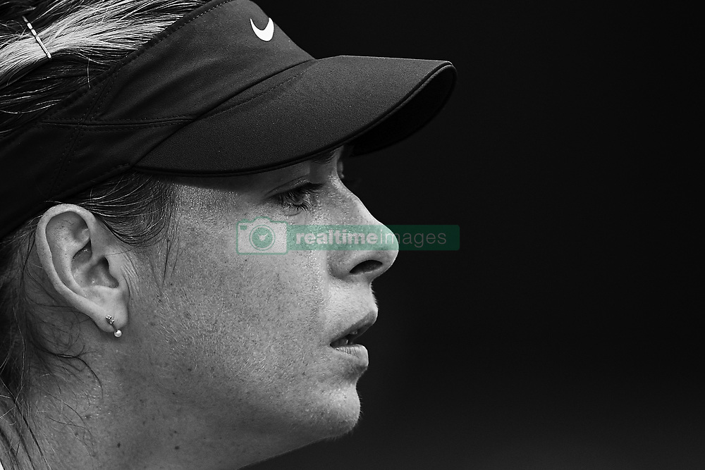May 9, 2018 - Madrid, Madrid, Spain - (EDITORS NOTE: the image has been converted to black and white) Maria Sharapova of Russia looks on in her match against Kristina Mladenovic of France during day five of the Mutua Madrid Open tennis tournament at the Caja Magica on May 9, 2018 in Madrid, Spain  (Credit Image: © David Aliaga/NurPhoto via ZUMA Press)