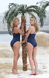 Models  at a pop up beach on the banks of the river Thames in London to cheer up commuters on ' Blue Monday' , reportedly the most depressing day of the year, Monday 21st  January 2013. Photo by: Stephen Lock / i-Images