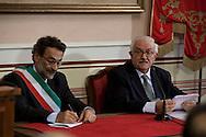 Rionero in V. (PZ) 03/10/2009 Italy - Il Presidente della Repubblica Giorgio Napolitano in visita nella casa natale di Giustino Fortunato. Nella Foto:  Il prof. Galasso.
