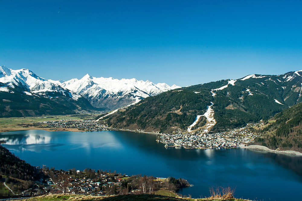 View towards the Kitsteinhorn looking over Zeller See, Zell Am See, Austria