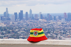 LOS ANGELES, USA - Friday, May 25, 2018: A Wales Spirit of '58 hat with the city of Los Angeles in the background at the Griffiths Observatory ahead of the International friendly match against Mexico. (Pic by David Rawcliffe/Propaganda)LOS ANGELES, USA - Friday, May 25, 2018: A Wales Spirit of '58 hat with the city of Los Angeles in the background at the Griffiths Observatory ahead of the International friendly match against Mexico. (Pic by David Rawcliffe/Propaganda)