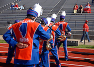 31 Oct. 2009 -- EAST ST. LOUIS, Ill. -- Members of the East St. Louis High School Marching Band perform a routine to welcome visitors from  Bradley-Bourbonnais High School before the Flyers opening-round IHSA playoff game Saturday, Oct. 31, 2009 in East St. Louis, Ill. Photo © copyright 2009 by Sid Hastings.