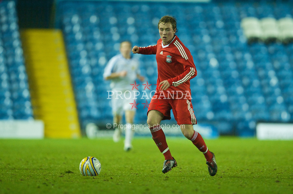 LEEDS, ENGLAND - Tuesday, December 2, 2008: Liverpool's Steven Irwin in action against Leeds United during the FA Youth Cup 3rd Round at Elland Road. (Photo by David Rawcliffe/Propaganda)