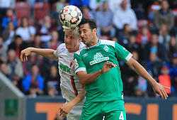 22.09.2018,1. BL, FC Augsburg vs Werder Bremen, WWK Arena Augsburg, Sport, im Bild:...Martin Hinteregger (FC Augsburg) vs Claudio Pizarro (Bremen)...DFL REGULATIONS PROHIBIT ANY USE OF PHOTOGRAPHS AS IMAGE SEQUENCES AND / OR QUASI VIDEO...Copyright: Philippe Ruiz..Tel: 089 745 82 22.Handy: 0177 29 39 408.e-Mail: philippe_ruiz@gmx.de. (Credit Image: © Philippe Ruiz/Xinhua via ZUMA Wire)