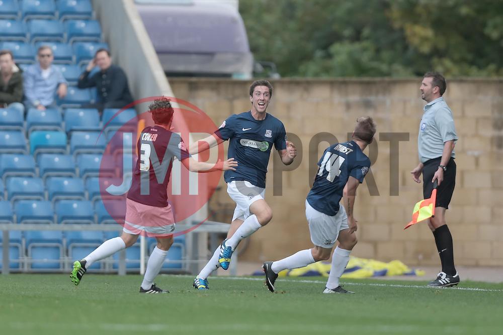 Southend United's Luke Prosser celebrates after scoring a goal  - Photo mandatory by-line: Nigel Pitts-Drake/JMP - Tel: Mobile: 07966 386802 05/10/2013 - SPORT - FOOTBALL - Kassam Stadium - Oxford - Oxford United v Southend United - Sky Bet League 2