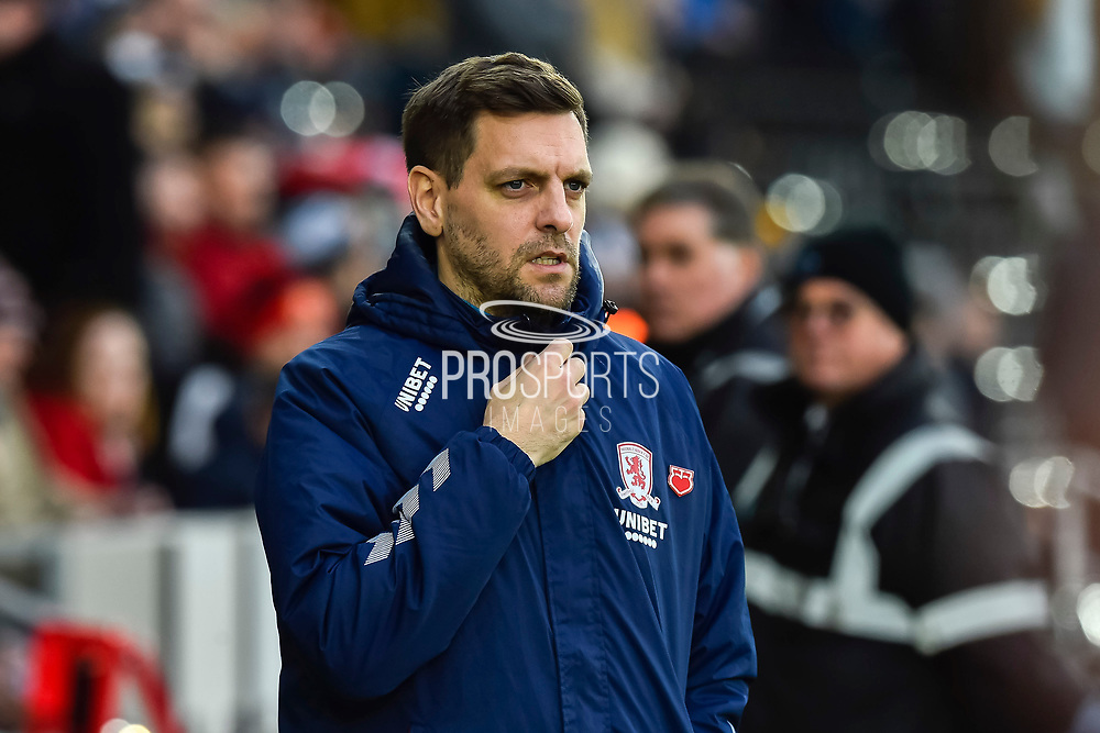 Middlesbrough manager Jonathan Woodgate  during the EFL Sky Bet Championship match between Swansea City and Middlesbrough at the Liberty Stadium, Swansea, Wales on 14 December 2019.