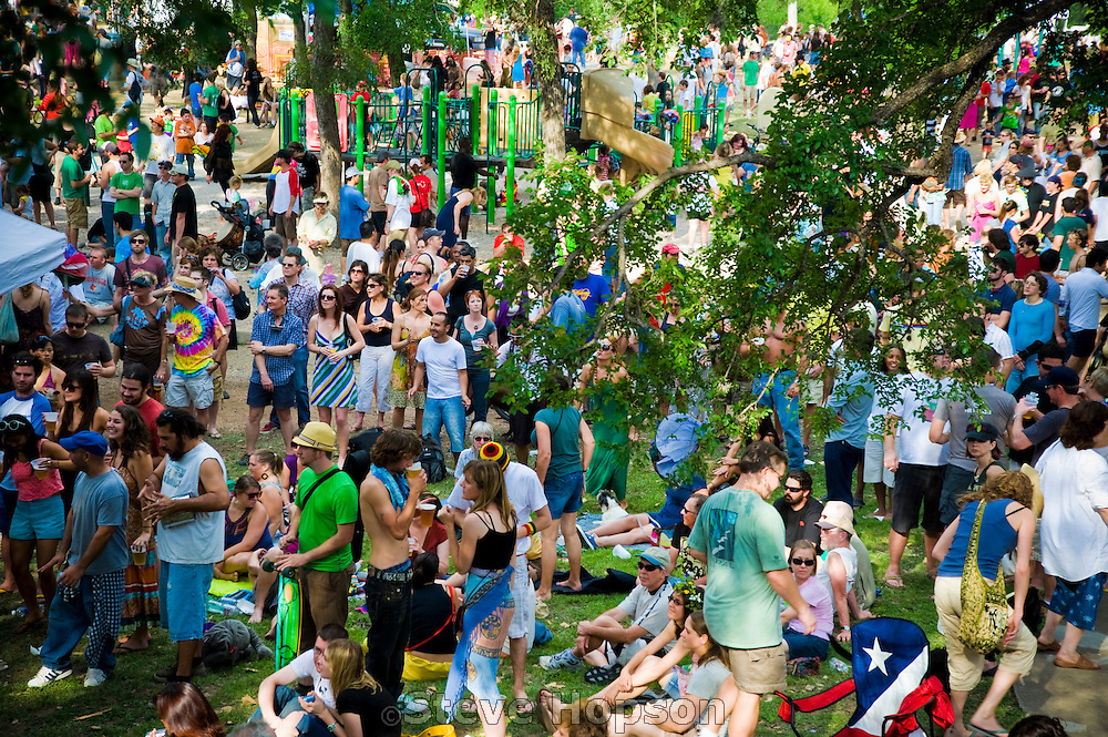 Festival goers at Eeyore's Birthday Party in Austin, Texas, April 25, 2009.  Eeyore's Birthday Party is an annual Rite of Spring party in Austin, named in honor of Eeyore, a character in A. A. Milne's Winnie-the-Pooh stories.  The festival has been held every year since 1963 and attendees are heavily costumed.