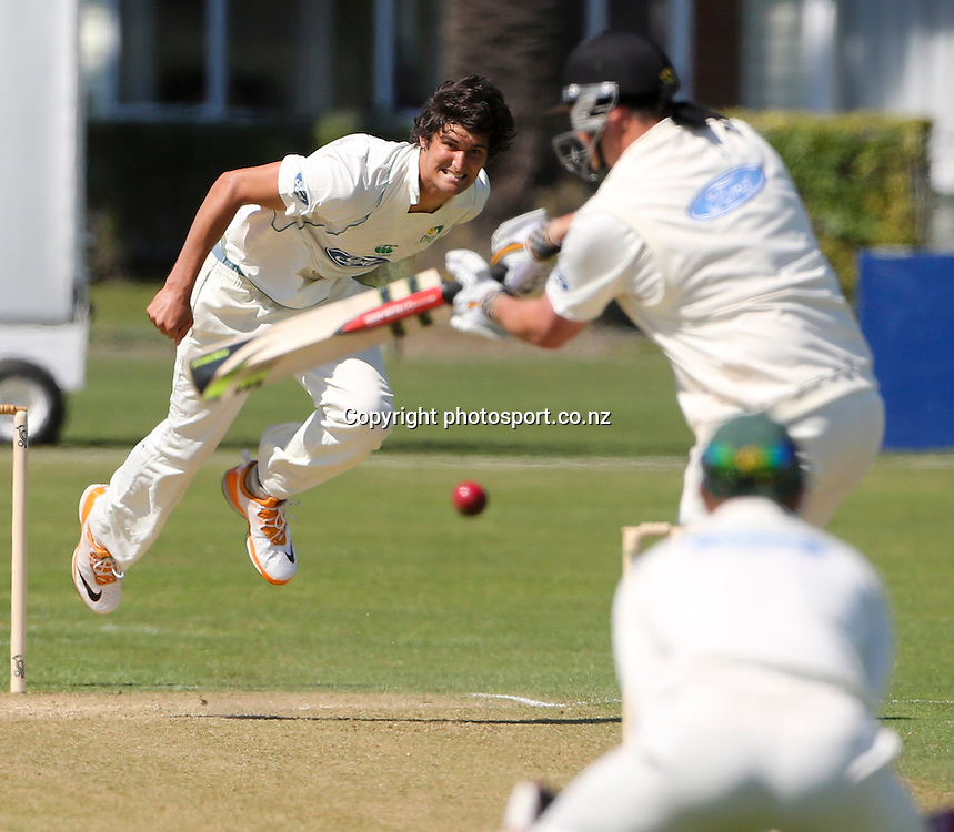 Stag's Andrew Mathieson bowls in the Plunket Shield cricket match between the Central Districts Stags and the Wellington Firebirds at Nelson Park, Napier,  New Zealand. Tuesday, 30 October, 2012. Photo: John Cowpland / photosport.co.nz