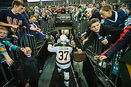 Vermont heads back to the changing room during the men's hockey game between the Vermont Catamounts and the Quinnipiac Bobcats in the championship game of the Friendship Four hockey tournament at the SSE Arena on Saturday evening November 26, 2016 in Belfast, Ireland. (BRIAN JENKINS/for the FREE PRESS)