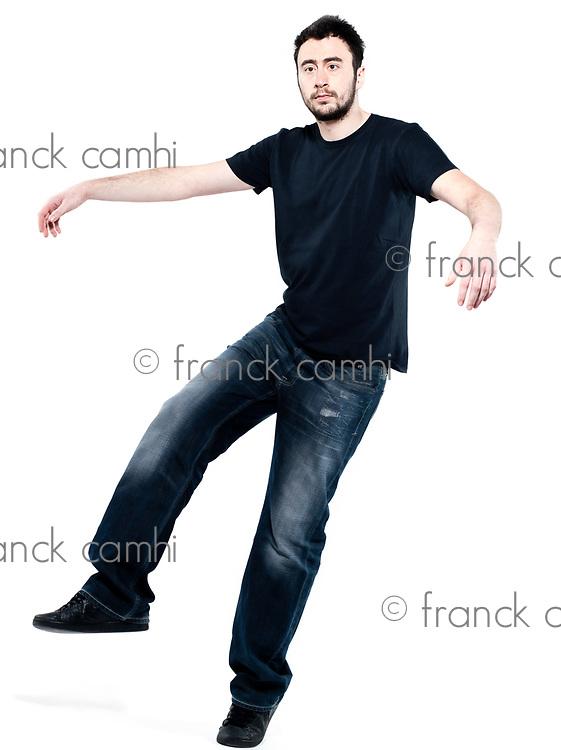 strange man attitude man on isolated white background