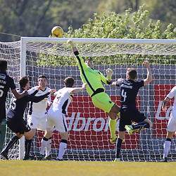 Alan Martin makes a fingertip save during the Dumbarton v Falkirk Scottish Championship 06 May 2017<br /> <br /> <br /> <br /> <br /> <br /> (c) Andy Scott | SportPix.org.uk