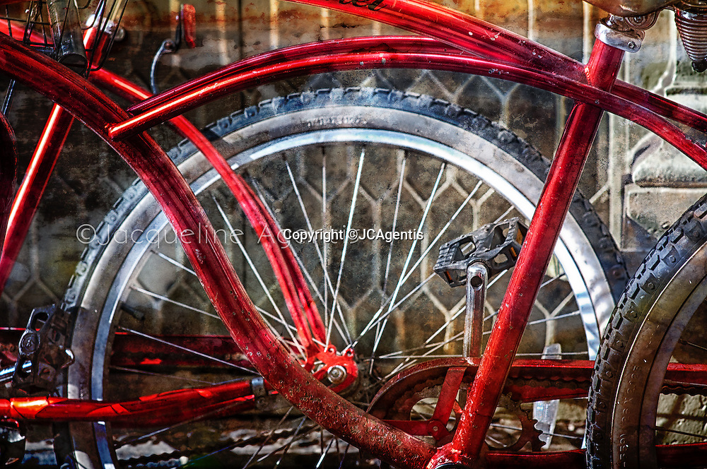 Close of image of old red bicycle leaning against interesting window design with brushed texture by Jacqueline C Agentis  Limited Edition 1 of 50