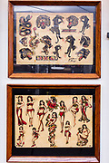 Early tattoo samples in the Daredevil Tattoo Museum.