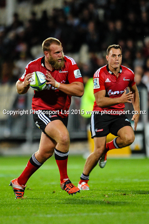 Joe Moody and Israel Dagg of the Crusaders  during the Super Rugby match, Crusaders v Cheetahs, 21 March 2015 at AMI Stadium, Christchurch. Copyright Photo: John Davidson / www.Photosport.co.nz