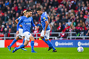 Ben Close of Portsmouth (33) and Gareth Evans of Portsmouth (26) in action during the EFL Sky Bet League 1 first leg Play Off match between Sunderland and Portsmouth at the Stadium Of Light, Sunderland, England on 11 May 2019.