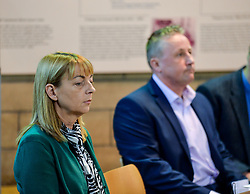 Pictured: Katie's mum, Linda Allan at the press conference, supported by Katie's dad Stuart Allan.<br /> <br /> The family of Katie Allan, who committed suicide in Polmont Young Offenders Institute in June after pleading guilty to drink driving and causing injury thru dangerous driving, launched a campaign calling for more awareness of mental health issues within the justice system, after it was claimed the 21 year old suffered daily bullying leading up to her death.<br /> <br /> © Dave Johnston / EEm