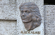 Musine Kokalari, 1917-83, writer and co-founder of the Albanian Social Democratic Party, from the Monument to Famous Gjirokastriotes, a new monument built by the municipality to celebrate 3 honorary citizens: Eqerem Cabej, 1908-80, historian, linguist and educator, Ismael Kadare and Musine Kokalari, 1943, Gjirokastra, Albania. Gjirokastra was settled by the Greek Chaonians, the Romans and Byzantines before becoming an Ottoman city in 1417. Its old town was listed as a UNESCO World Heritage Site in 2005. Picture by Manuel Cohen