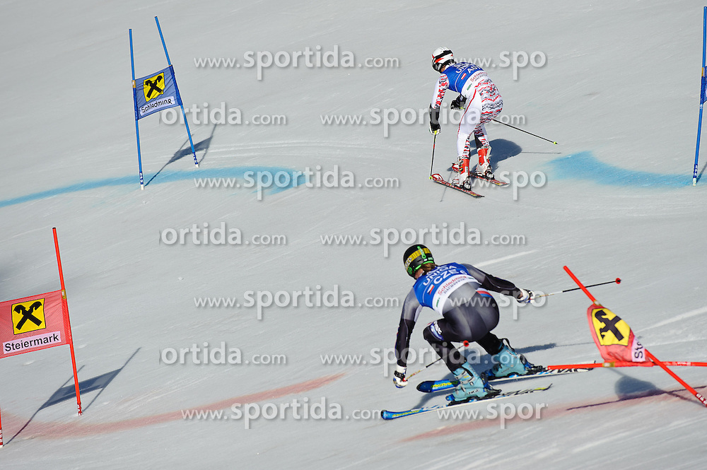 16.03.2012, Planai, Schladming, AUT, FIS Weltcup Ski Alpin, Teambewerb, im Bild Philipp Schoerghofer (AUT) und Filip Trejbal (CZE) // Philipp Schoerghofer of Austria and Filip Trejbal of Czech Republic during Nation Team Event of FIS Ski Alpine World Cup at 'Planai' course in Schladming, Austria on 2012/03/16. EXPA Pictures © 2012, PhotoCredit: EXPA/ Sandro Zangrando