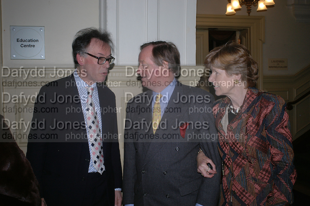 Andrew Barrow and Mr. and Mrs. Andrew Parker Bowles. Annabel Freyberg and Andrew Barrow drinks party. The Royal Geographical Society. 5 January 2006. ONE TIME USE ONLY - DO NOT ARCHIVE  © Copyright Photograph by Dafydd Jones 66 Stockwell Park Rd. London SW9 0DA Tel 020 7733 0108 www.dafjones.com