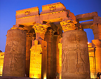 view on the Kom Ombo by night temple along the river nile in upper egypt
