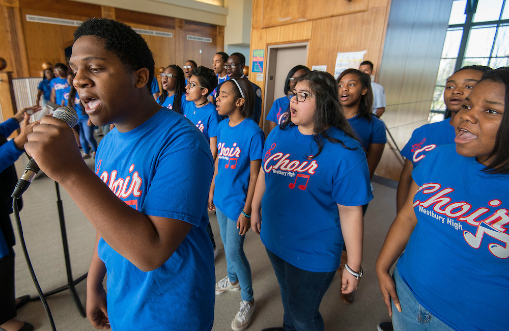 Members of the Westbury Choir perform during a groundbreaking ceremony at Westbury High School, February 16, 2017.