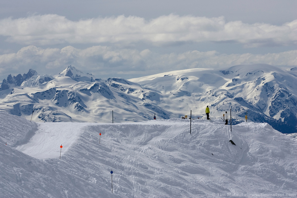 Skiers and snowboarders at Whistler-Blackcomb ski resort in British Columbia, Canada.