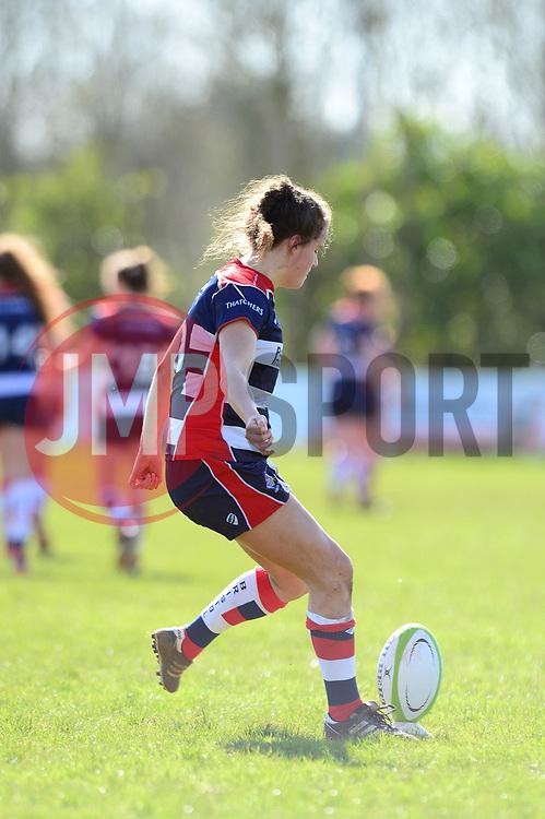 Lucy Attwood of Bristol Ladies kicks for a conversion - Mandatory by-line: Dougie Allward/JMP - 26/03/2017 - RUGBY - Cleve RFC - Bristol, England - Bristol Ladies v Wasps Ladies - RFU Women's Premiership