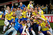 Onderwerp/Subject: Cambuur Leeuwarden - Jupiler League<br /> Reklame:  <br /> Club/Team/Country: <br /> Seizoen/Season: 2012/2013<br /> FOTO/PHOTO: F.L.T.R(BOTTOM): Sicco BOUWER of Cambuur Leeuwarden and Martijn BARTO of Cambuur Leeuwarden and Martijn VAN DER LAAN of Cambuur Leeuwarden and Goalkeeper Rodney UBBERGEN of Cambuur Leeuwarden and Mark DIEMERS of Cambuur Leeuwarden and Mart DIJKSTRA of Cambuur Leeuwarden F.L.T.R(TOP) Johnny DE VRIES of Cambuur Leeuwarden and Wout DROSTE of Cambuur Leeuwarden and Giovanni HIWAT of Cambuur Leeuwarden and Lucas BIJKER of Cambuur Leeuwarden and Adnane TIGHADOUINI of Cambuur Leeuwarden and Yuris ROSE ( Yuri ROSE ) of Cambuur Leeuwarden and Tim KEURNTJES of Cambuur Leeuwarden and Tim BAKENS of Cambuur Leeuwarden and Erik BAKKER of Cambuur Leeuwarden and Team Manager Rob PROPSMA of Cambuur Leeuwarden and Michiel HEMMEN of Cambuur Leeuwarden and Leon BROEKHOF of Cambuur Leeuwarden celebrating Jupiler League Championship and promotion to Eredivisie with the Trophy. (Photo by PICS UNITED)<br /> <br /> Trefwoorden/Keywords: <br /> #02 #18 $94 &plusmn;1367598354739<br /> Photo- &amp; Copyrights &copy; PICS UNITED <br /> P.O. Box 7164 - 5605 BE  EINDHOVEN (THE NETHERLANDS) <br /> Phone +31 (0)40 296 28 00 <br /> Fax +31 (0) 40 248 47 43 <br /> http://www.pics-united.com <br /> e-mail : sales@pics-united.com (If you would like to raise any issues regarding any aspects of products / service of PICS UNITED) or <br /> e-mail : sales@pics-united.com   <br /> <br /> ATTENTIE: <br /> Publicatie ook bij aanbieding door derden is slechts toegestaan na verkregen toestemming van Pics United. <br /> VOLLEDIGE NAAMSVERMELDING IS VERPLICHT! (&copy; PICS UNITED/Naam Fotograaf, zie veld 4 van de bestandsinfo 'credits') <br /> ATTENTION:  <br /> &copy; Pics United. Reproduction/publication of this photo by any parties is only permitted after authorisation is sought and obtained from  PICS UNITED- THE NETHERLANDS
