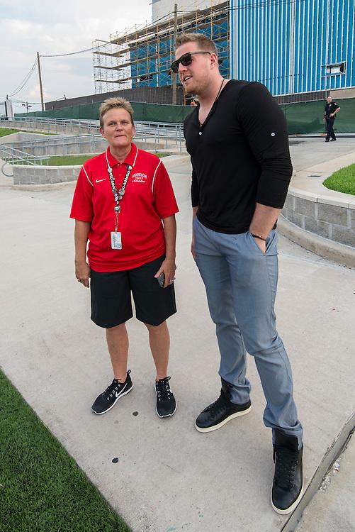 Houston Texans defensive standout JJ Watt attends a football game between Lamar and Fort Bend Hightower at Delmar-Tusa Stadium, September 2, 2016.