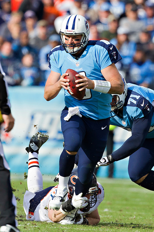NASHVILLE, TN - NOVEMBER 4:  Matt Hasselbeck #8 of the Tennessee Titans scrambles out of the pocket against the Chicago Bears at LP Field on November 4, 2012 in Nashville, Tennessee.  The Bears defeated the Titans 51-20.  (Photo by Wesley Hitt/Getty Images) *** Local Caption *** Matt Hasselbeck