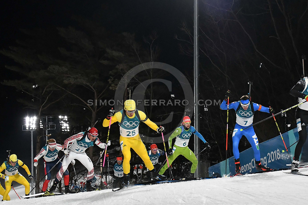 Corea del Sud 18 febbraio 2018<br /> XXIII Olimpiadi Invernali Pyeongchang 2018.<br /> Alpensia Biathlon Centre. Men's 15km Mass Start. <br /> In gara per l'Italia il #7 WINDISCH Dominik e il # 12 HOFER Lukas. <br /> Foto Simone Ferraro / GMT