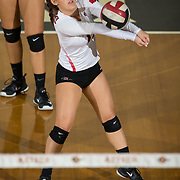 09 November 2017:  The San Diego State Aztecs women's volleyball team hosts UNLV Thursday night at Peterson Gym. The Aztecs won 3-1 (25-18; 16-25; 25-12; 25-13).<br /> www.sdsuaztecphotos.com