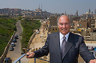 Egypt. Cairo : The prince Karim Aga Khan visit Cairo the project of the Aga Khan foundation. Al Azhar Park. Salah El Din walls fortification and the citadel. old islamic city  Cairo  Egypt +