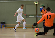 Scott Mollison opens the scoring for Fair City Santos in the Scottish Cup final against Wattcell- Scottish Futsal Finals Day at the DISC<br /> <br />  - &copy; David Young - www.davidyoungphoto.co.uk - email: davidyoungphoto@gmail.com