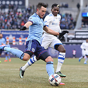 NEW YORK, NEW YORK - March 18: Jack Harrison #11 of New York City FC challenged by Ambroise Oyongo #2 of Montreal Impact during the New York City FC Vs Montreal Impact regular season MLS game at Yankee Stadium on March 18, 2017 in New York City. (Photo by Tim Clayton/Corbis via Getty Images)