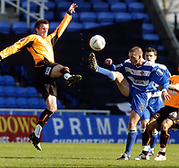 Picture: Henry Browne.<br /> Date: 02/04/2005.<br /> Reading v Sheffield United Coca-Cola Championship.<br /> Michael Tonge of United flies in on Ricky Newman of Reading.
