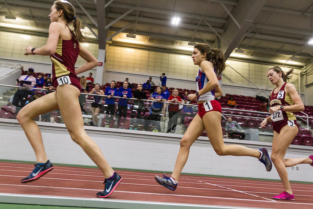 Boston University Multi-team indoor track & field, women's one mile, heat 1, Boston College, 371, Sacred Heart, 491