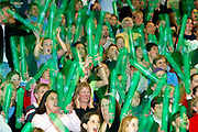 The National Bank Cup<br /> Woman's netball Semi Final<br /> R'toto Force v Canterbury Flames<br /> @ North Shore Event centre, Auckland, 31/05/02<br /> Netball Fans<br /> Credit / Chris Skelton / Photosport