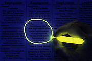 A glowing yellow marker is used by a hand to draw a colorful circle around a want ad in a newspaper.Black light