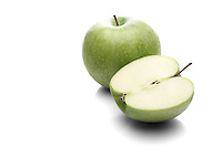 Apples on white background - close-up